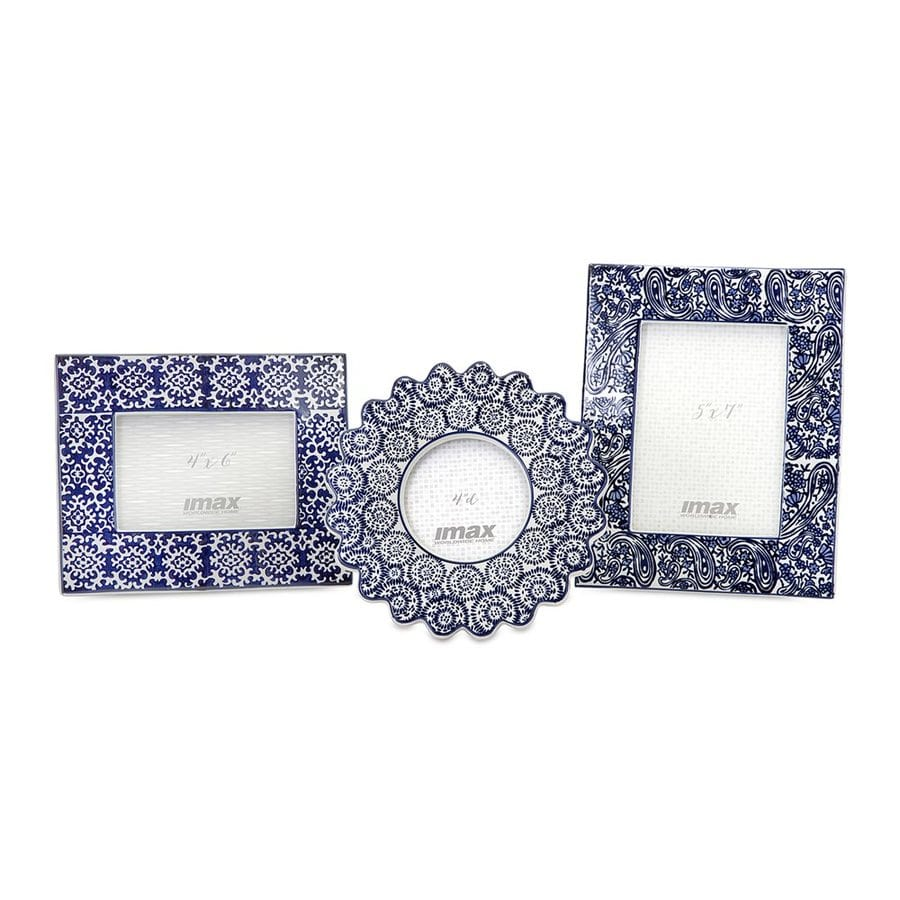 Imax Worldwide 3-Pack Lucenda Blue/White Picture Frame