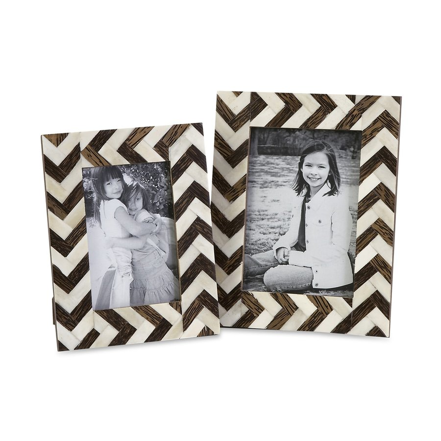 Imax Worldwide 2-Pack Zig Zag White/Brown Bone Inlay Picture Frame