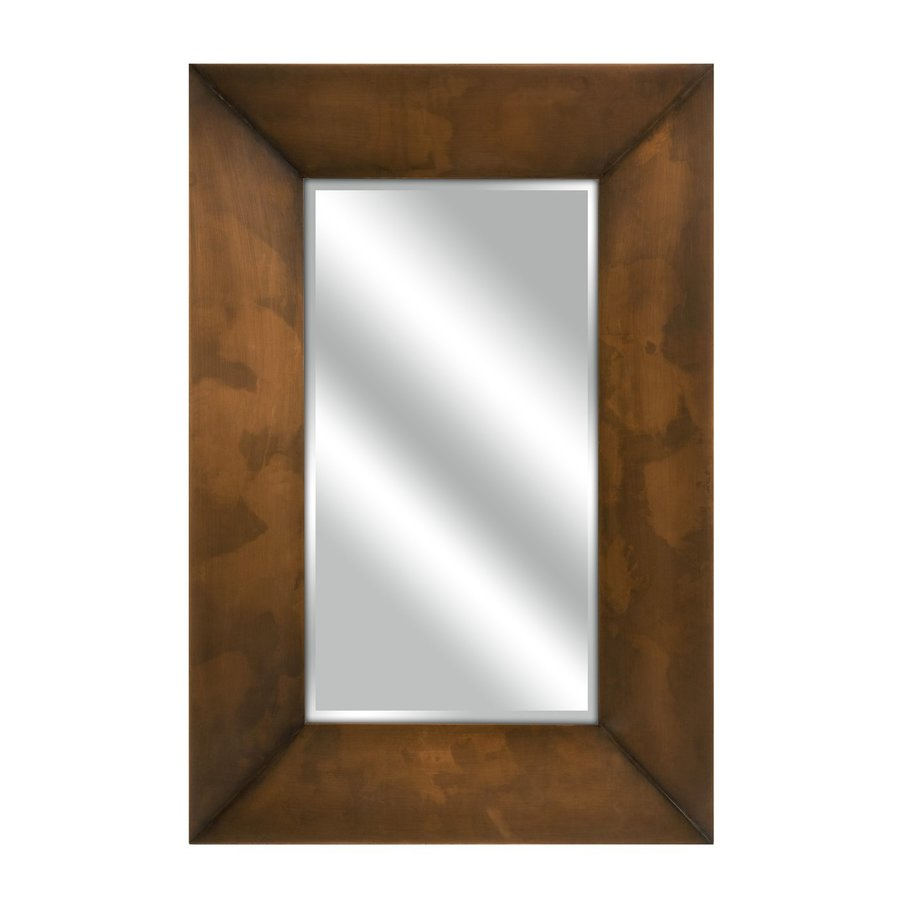 Imax Worldwide Spier 23.75-in x 35.5-in Copper Beveled Rectangular Framed Transitional Wall Mirror