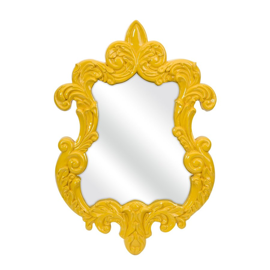 Imax Worldwide Finely Canary Yellow Polished Arch Wall Mirror