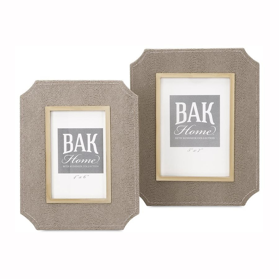 Imax Worldwide 2-Pack Beth Kushnick Neutral Faux Leather Picture Frame