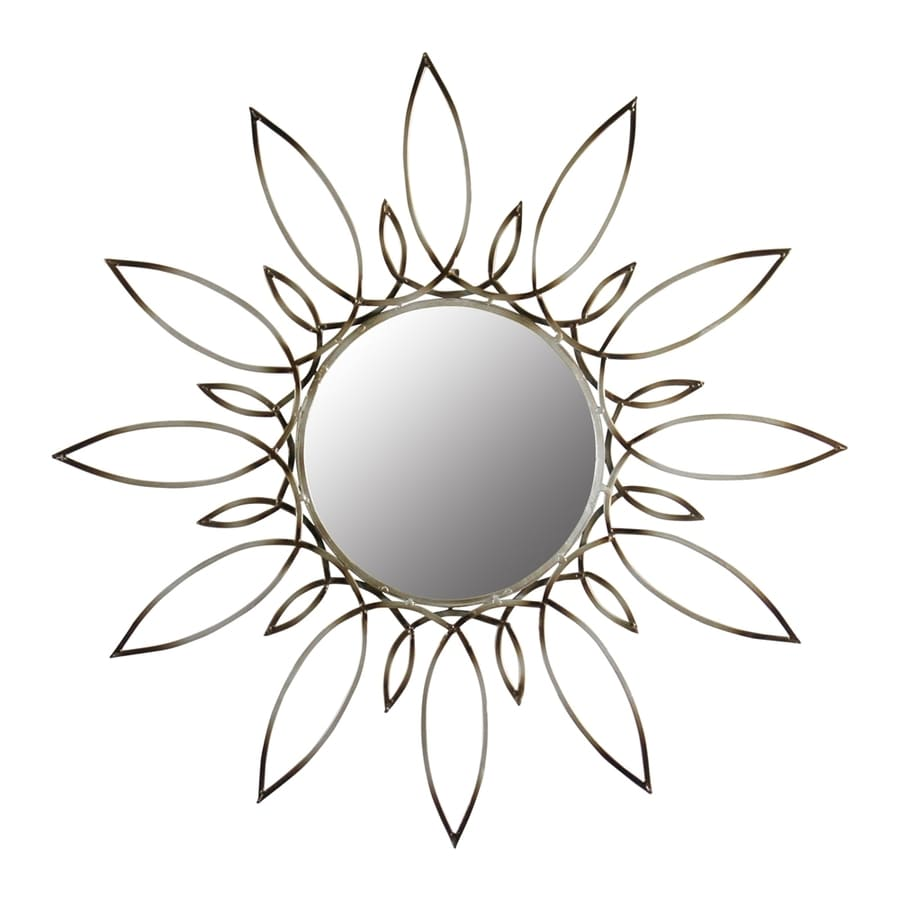 Aspire Home Accents Starburst Silver/Brown Polished Round Wall Mirror