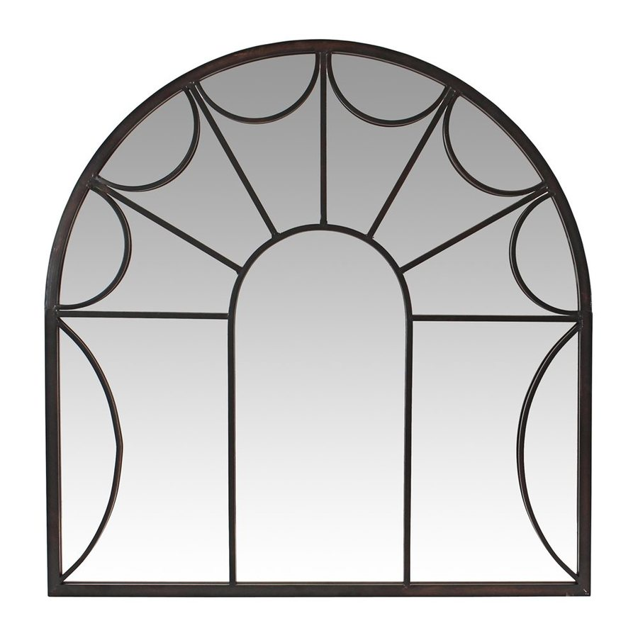 Aspire Home Accents Carlita 34-in x 35-in Dark Antique Brown Polished Arch Framed Transitional Wall Mirror