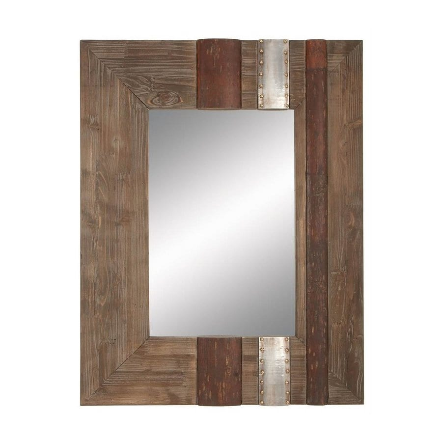 Aspire Home Accents 28-in x 36-in Brown Polished Rectangular Framed Rustic Wall Mirror