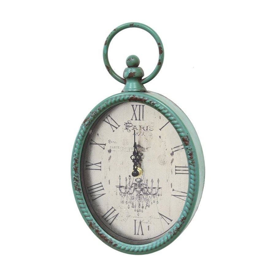 Stratton Home Decor Antique Teal Analog Oval Indoor Wall Clock