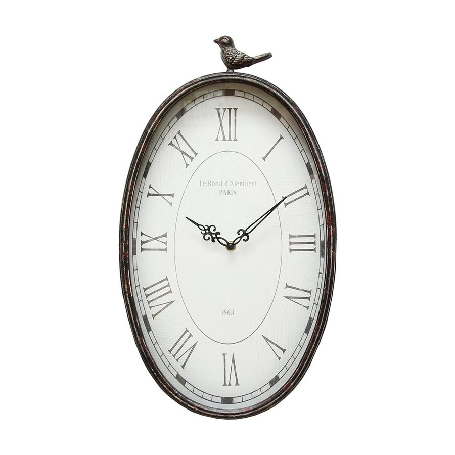 Stratton Home Decor Antique Bird Analog Oval Indoor Wall Clock