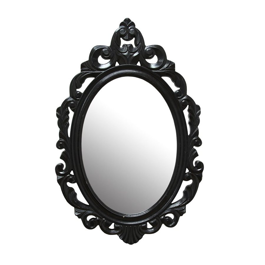 Stratton Home Decor Baroque Black Polished Oval Wall Mirror