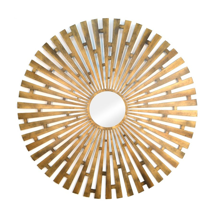 Stratton Home Decor 36-in x 36-in Gold Polished Round Framed Sunburst Wall Mirror