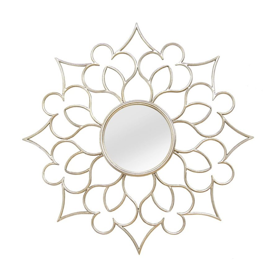 Stratton Home Decor Francesca Silver Polished Round Wall Mirror