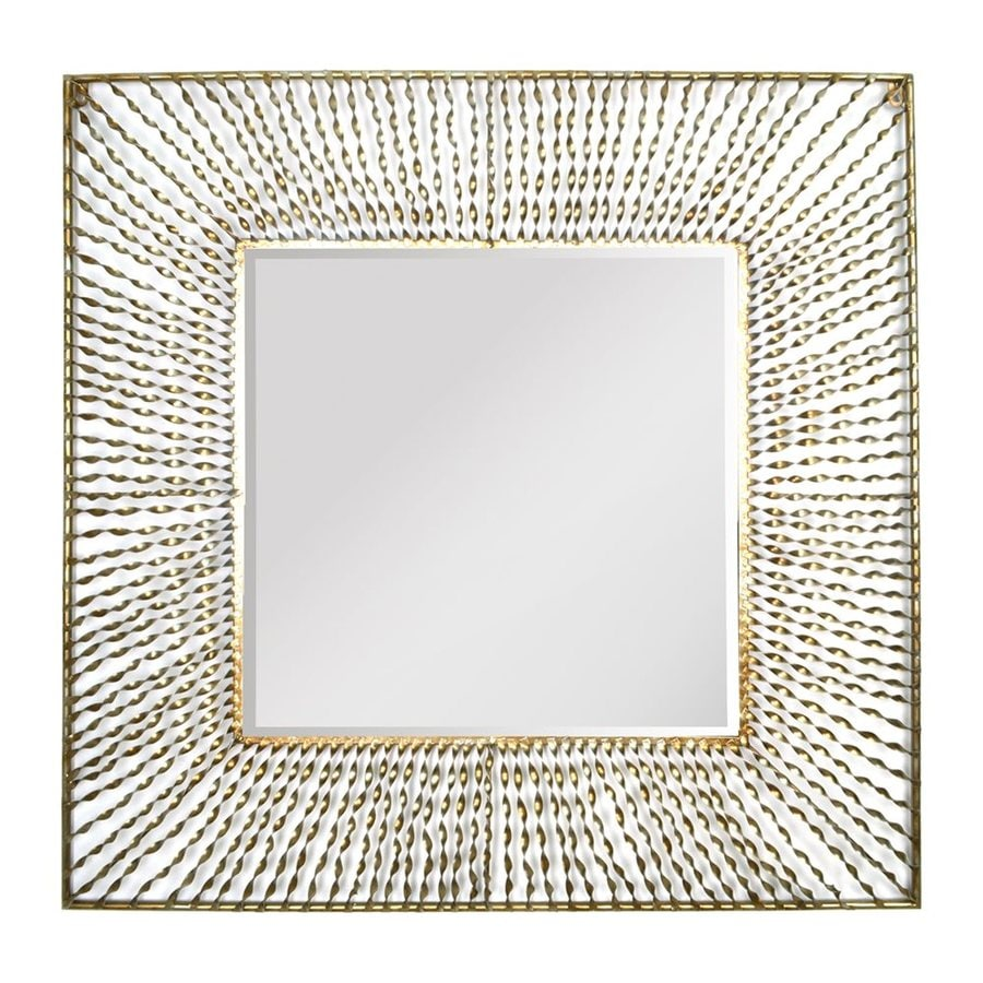 Stratton Home Decor Nicole 26-in x 26-in Gold Polished Square Framed Contemporary Wall Mirror
