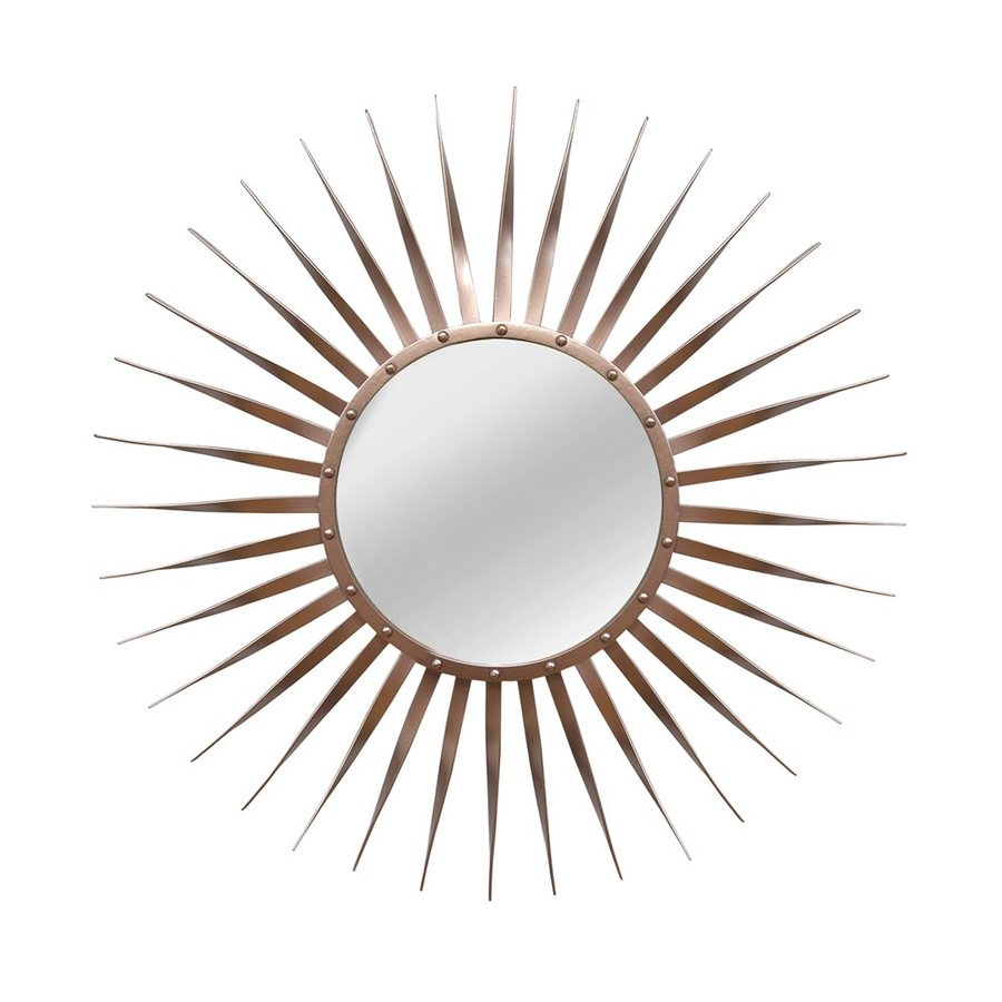 Stratton Home Decor Rose 28.25-in x 28.25-in Bronze Polished Round Framed Sunburst Wall Mirror