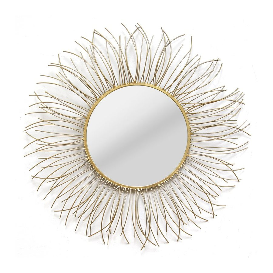 Stratton Home Decor Katerina 29.5-in x 29.5-in Gold Polished Round Framed Sunburst Wall Mirror