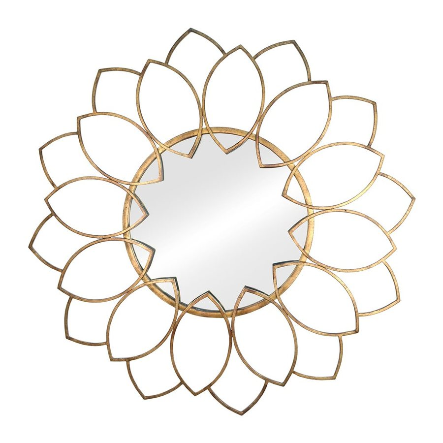 Stratton Home Decor Alexandra Gold Polished Round Wall Mirror