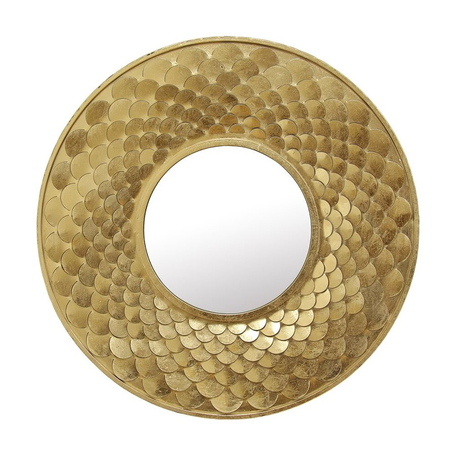 Stratton Home Decor Brigette 32-in x 32-in Gold Polished Round Framed Contemporary Wall Mirror