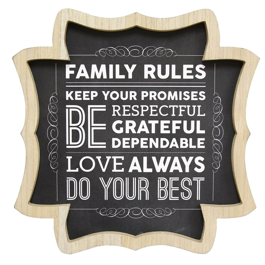 Stratton Home Decor 16-in W x 16-in H Framed Family Rules Print Wall Art