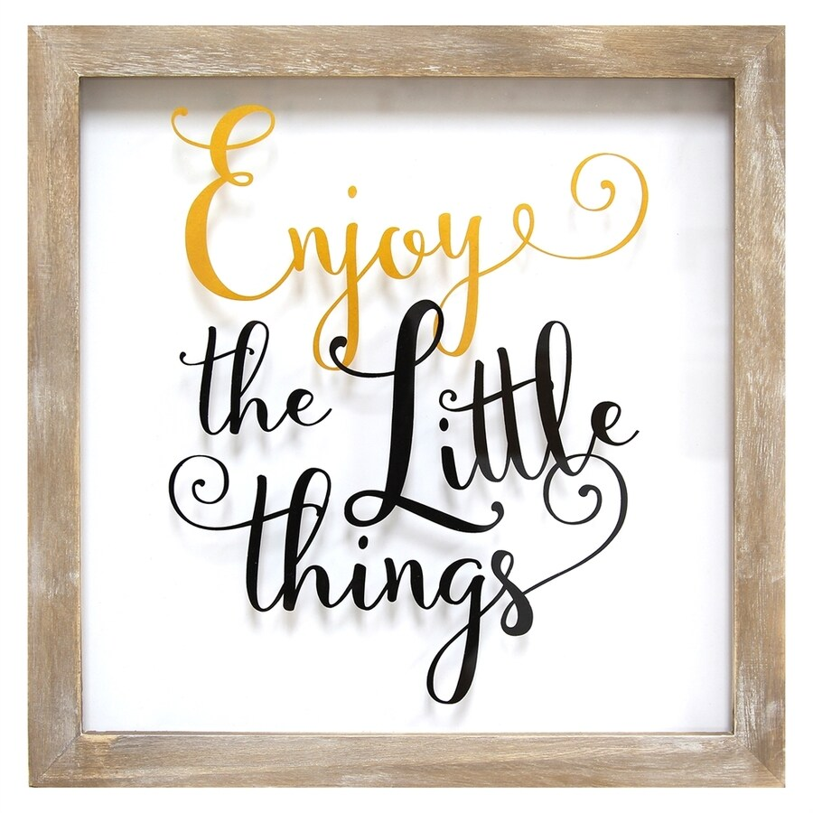 Stratton Home Decor 14-in W x 14-in H Framed Wood Enjoy The Little Things Print Wall Art