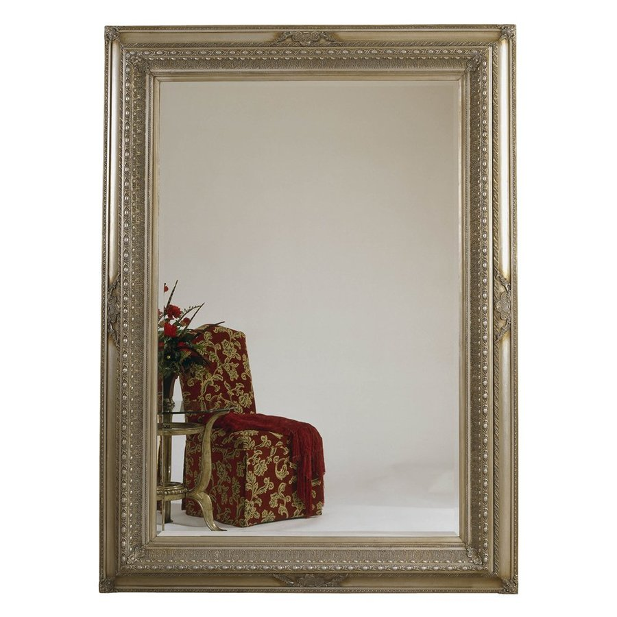 Bassett Mirror Company Castello 66-in x 90-in Antique Silver Beveled Rectangle Framed Traditional Floor Mirror