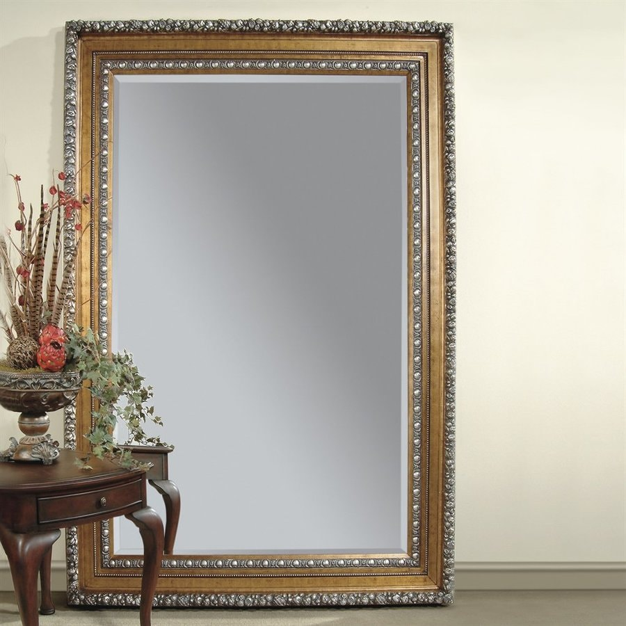 Bassett Mirror Company Amadeus 63-in x 87-in Gold Leaf Beveled Rectangle Framed Traditional Floor Mirror