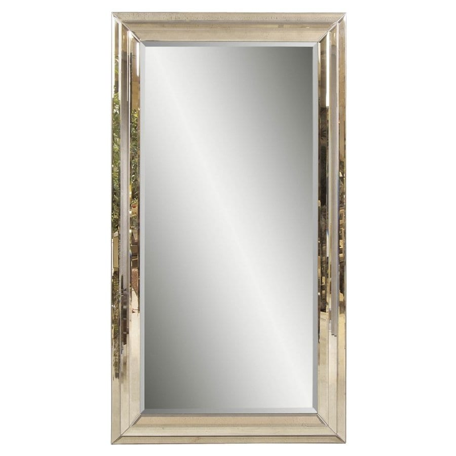 Shop bassett mirror company rosinna antique mirror beveled for Framed floor mirror