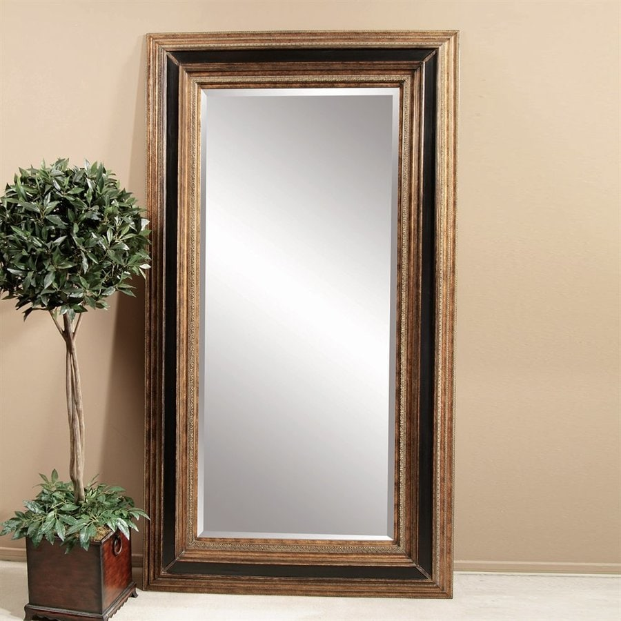 Bassett Mirror Company Vallejo Antique Gold/Ebony Beveled Floor Mirror