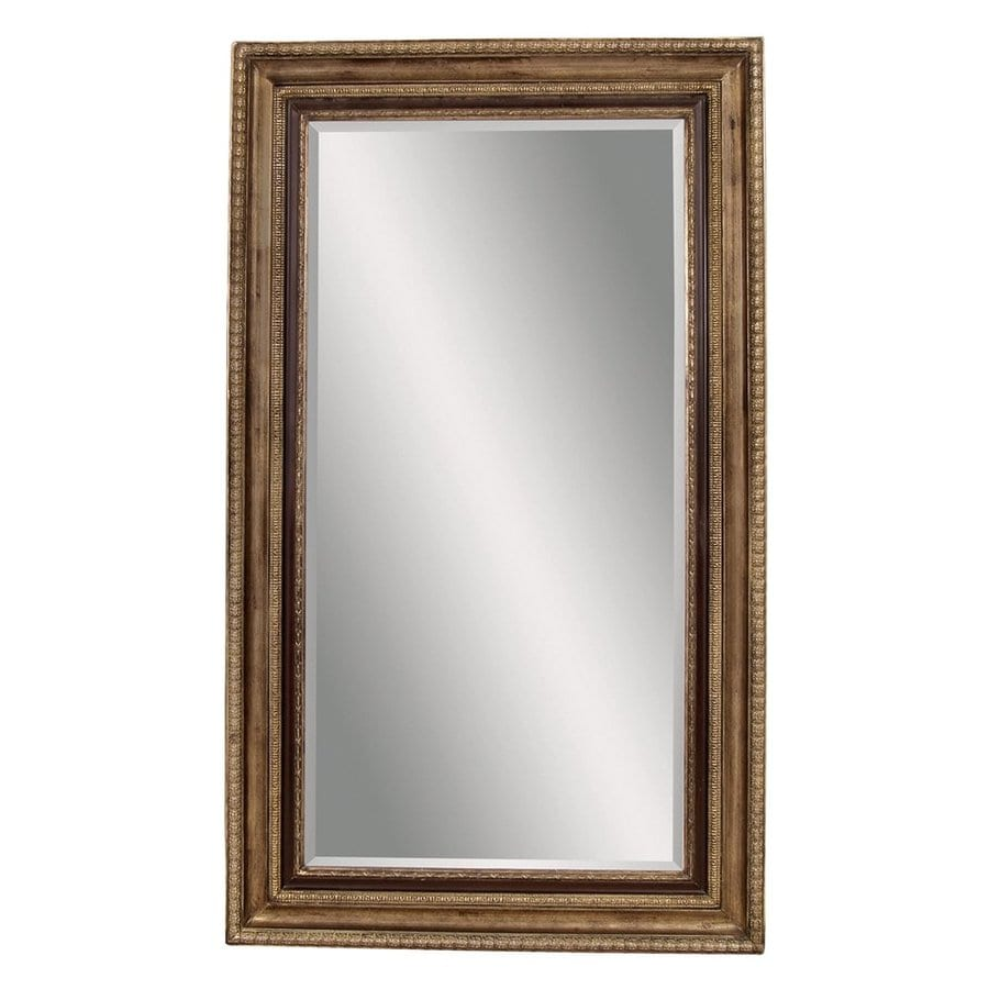 Bassett Mirror Company Sergio 50-in x 86-in Antique Gold Beveled Rectangle Framed Country Floor Mirror
