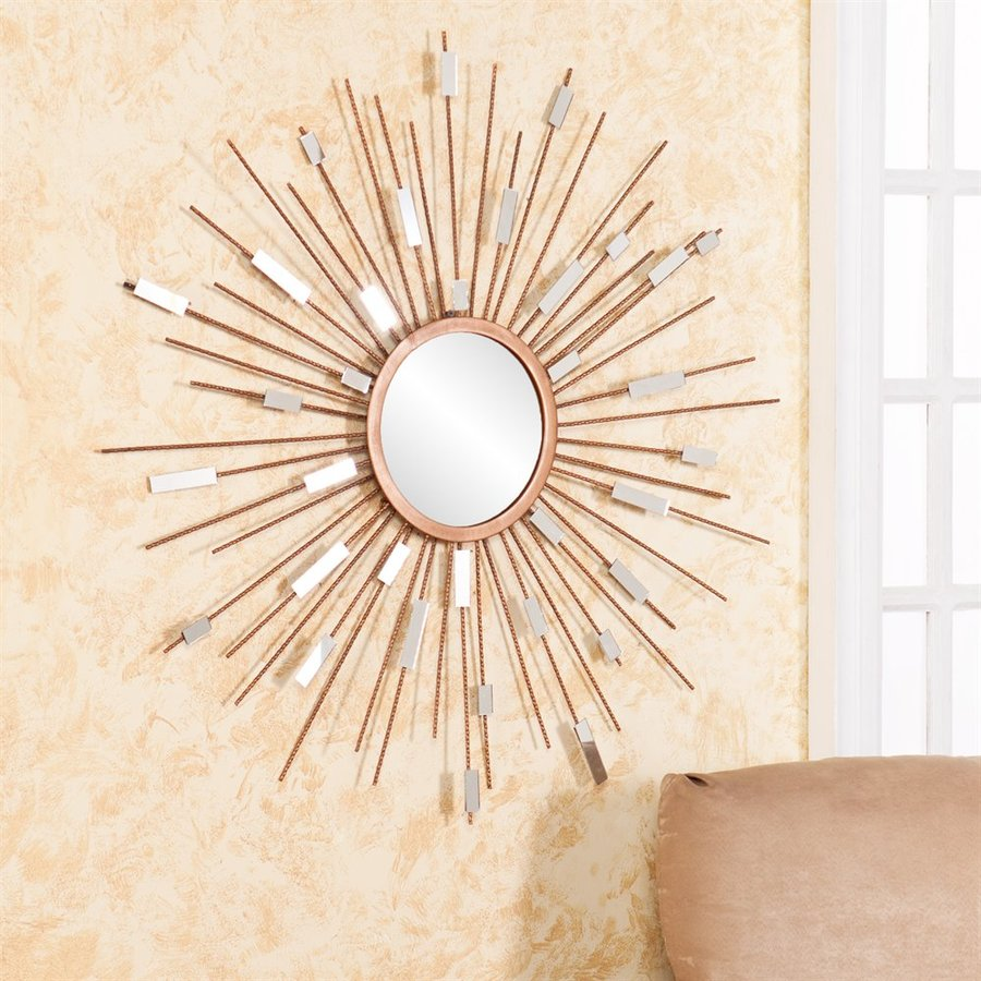 Boston Loft Furnishings Mallory 36-in x 36-in Gold Round Framed Sunburst Wall Mirror