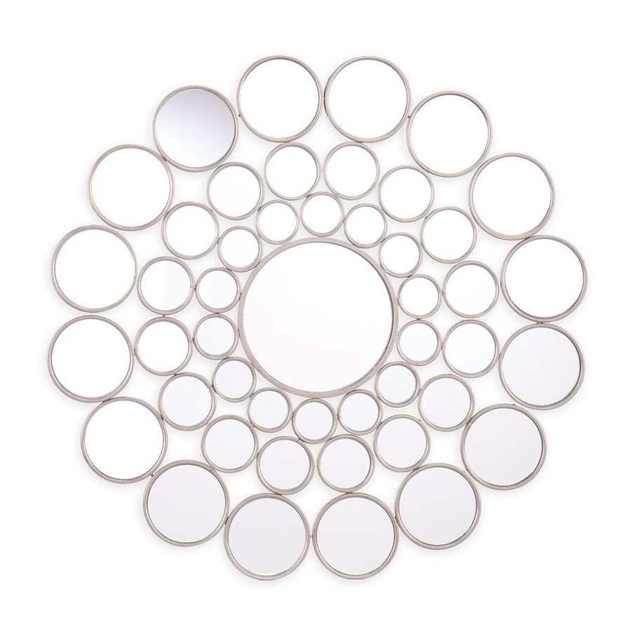 Boston Loft Furnishings Leona 34.25-in x 34.25-in Silver Round Framed Contemporary Wall Mirror