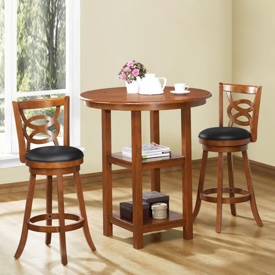 Monarch Specialties Set of 2 Dark Oak 24-in Tall Stool
