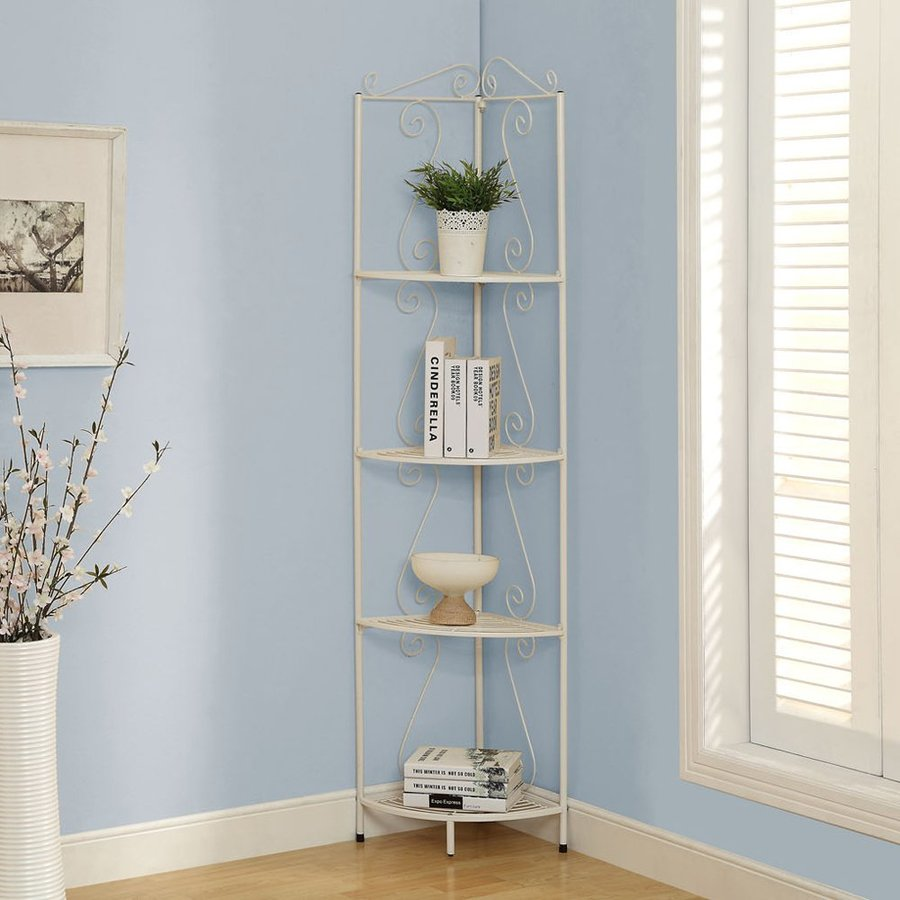 Monarch Specialties White Corner Etagere
