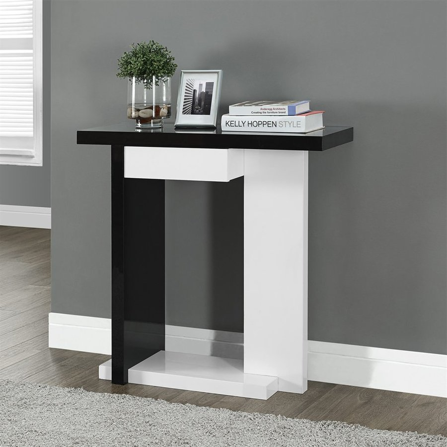 Monarch Specialties High Gloss White/Black Rectangular Console Table