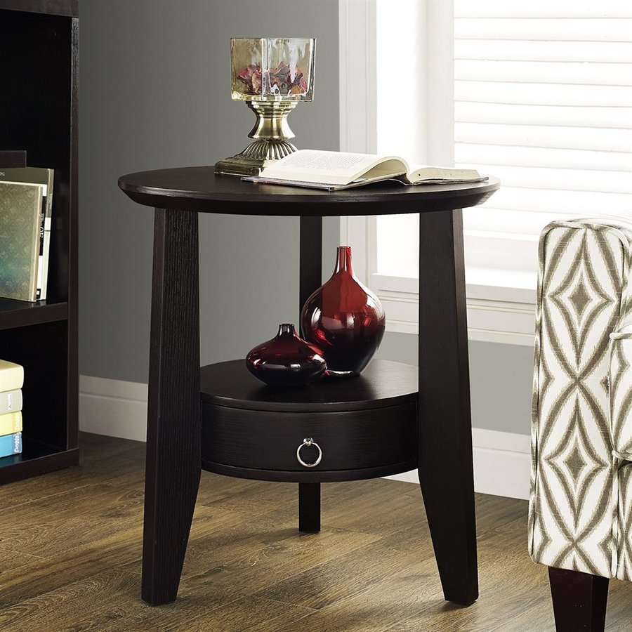Monarch Specialties Cappuccino Brown Round End Table