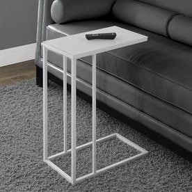 Ordinaire Monarch Specialties White Glass Modern End Table
