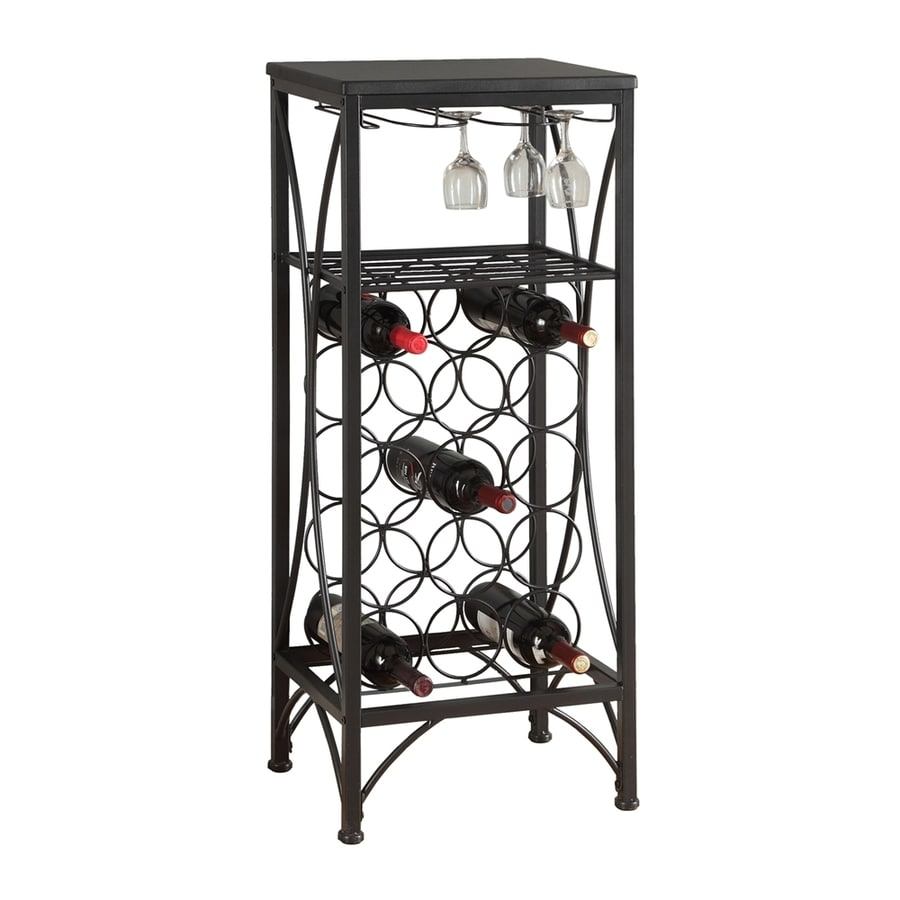 Monarch Specialties 15 Bottle Black Freestanding Floor Wine Rack At