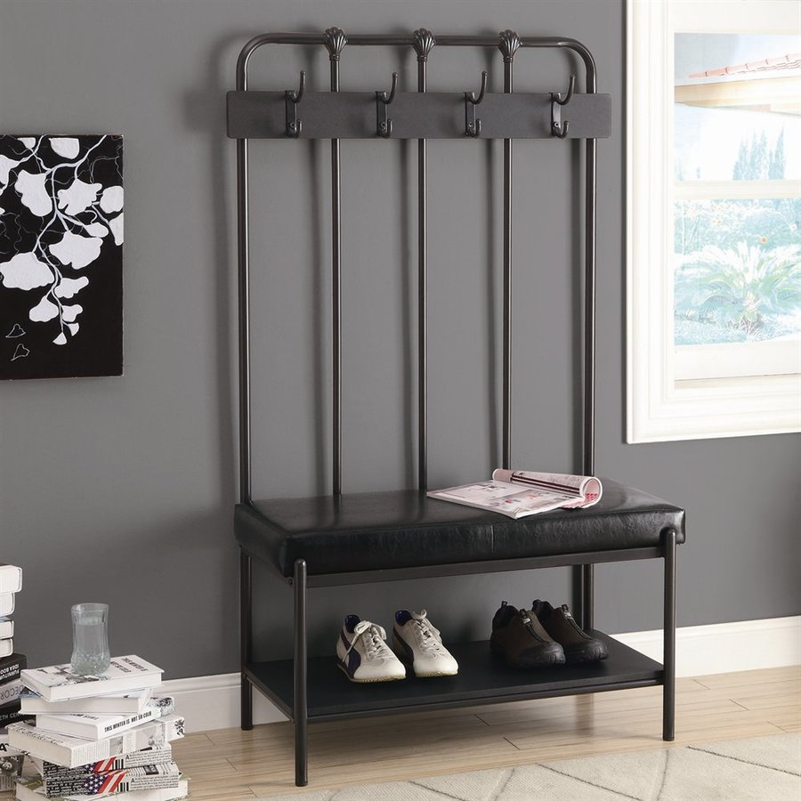 Monarch Specialties Transitional Charcoal Grey Hall Tree Bench