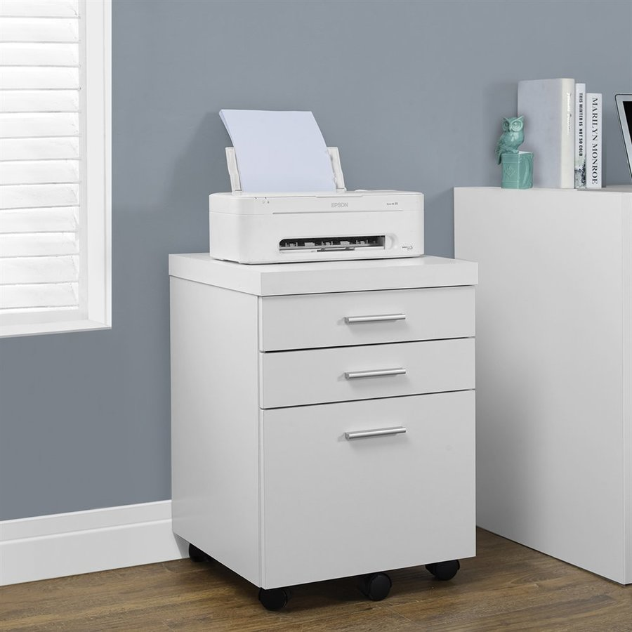 Monarch Specialties White 3-Drawer File Cabinet
