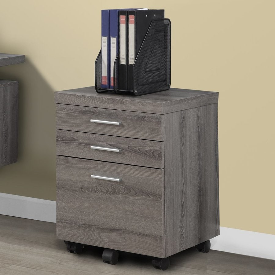Monarch Specialties Dark Taupe 3-Drawer File Cabinet