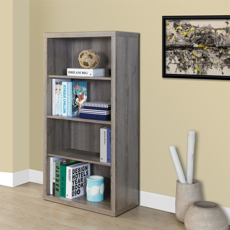 Monarch Specialties Dark Taupe 24-in W x 48-in H x 12-in D 3-Shelf Bookcase