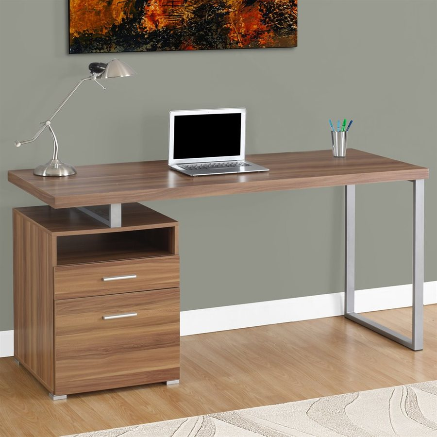 Monarch Specialties Contemporary Medium Walnut Computer Desk