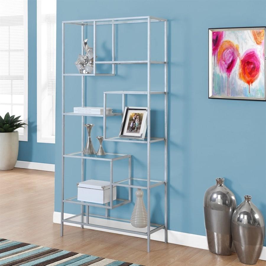 Monarch Specialties Silver 32-in W x 72-in H x 12-in D 9-Shelf Bookcase