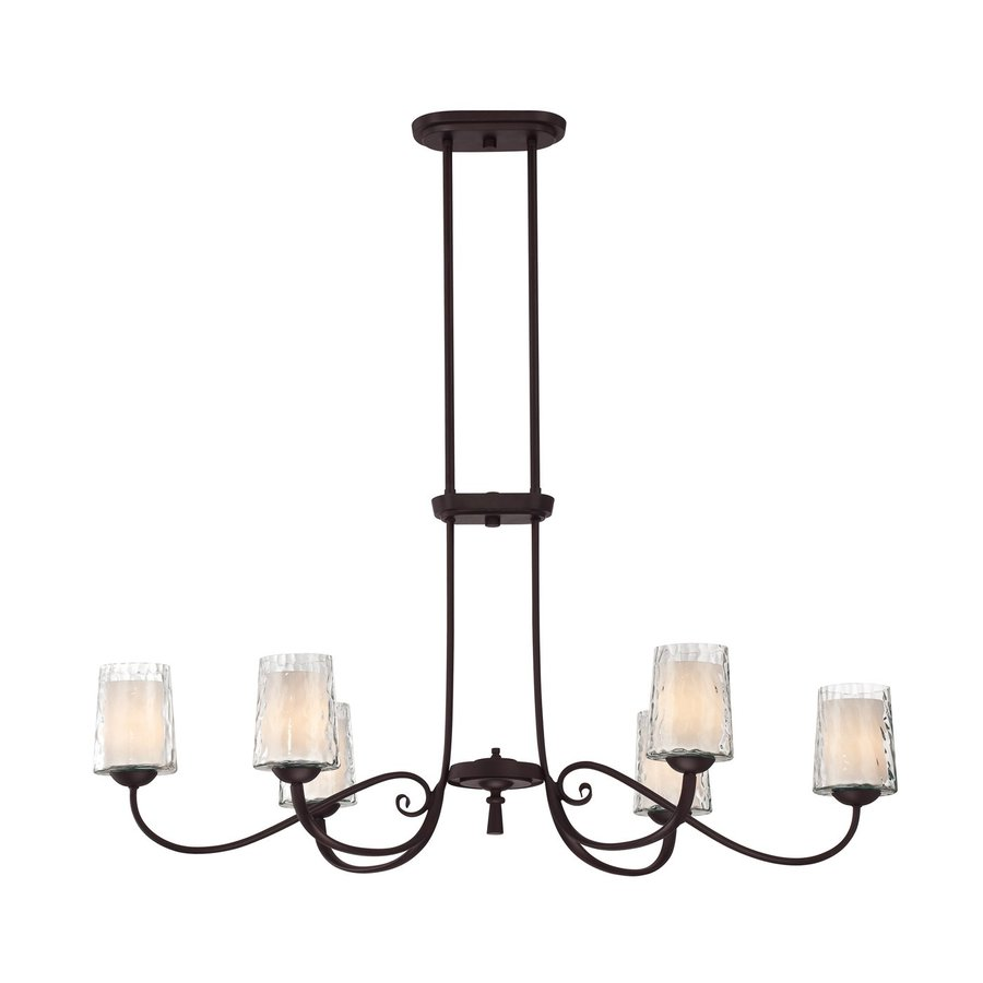 Quoizel Adonis 19.5-in 6-Light Dark Cherry Etched Glass Shaded Chandelier