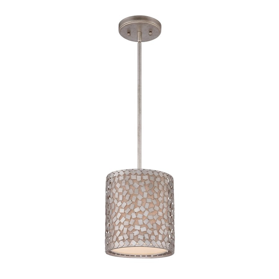 Quoizel Confetti 8-in Old Silver Mini Cylinder Pendant