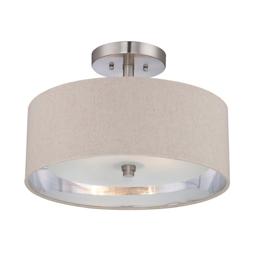 Quoizel Metro 15.5-in W Brushed Nickel Fabric Semi-Flush Mount Light