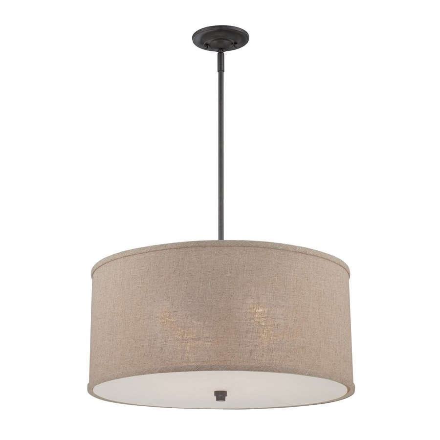 Quoizel Cloverdale 22-in Mottled Cocoa Single Drum Pendant
