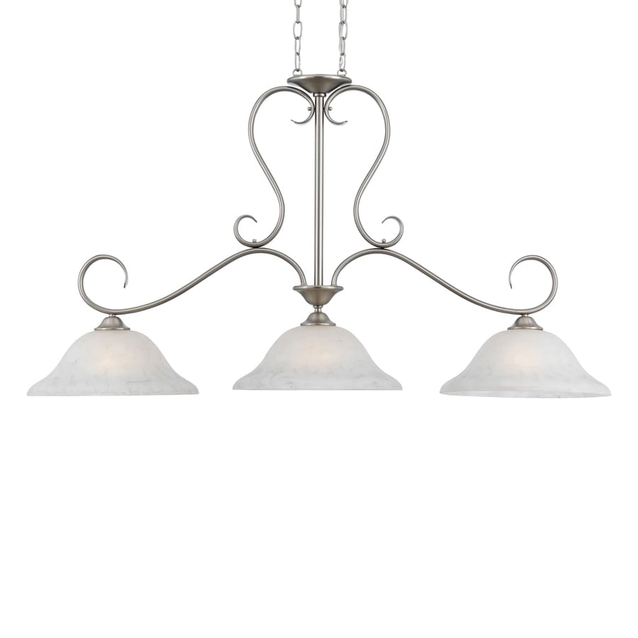 Quoizel Duchess 14-in W 3-Light Antique Nickel Traditional Kitchen Island Light with Marbelized Shade