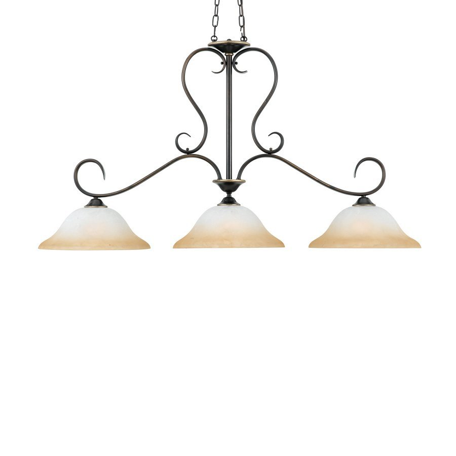 Quoizel Duchess 14-in W 3-Light Palladian Bronze Kitchen Island Light with Marbelized Shade