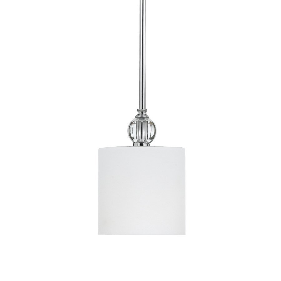 Quoizel Downtown 5.75-in Polished Chrome Country Cottage Mini Etched Glass Cylinder Pendant