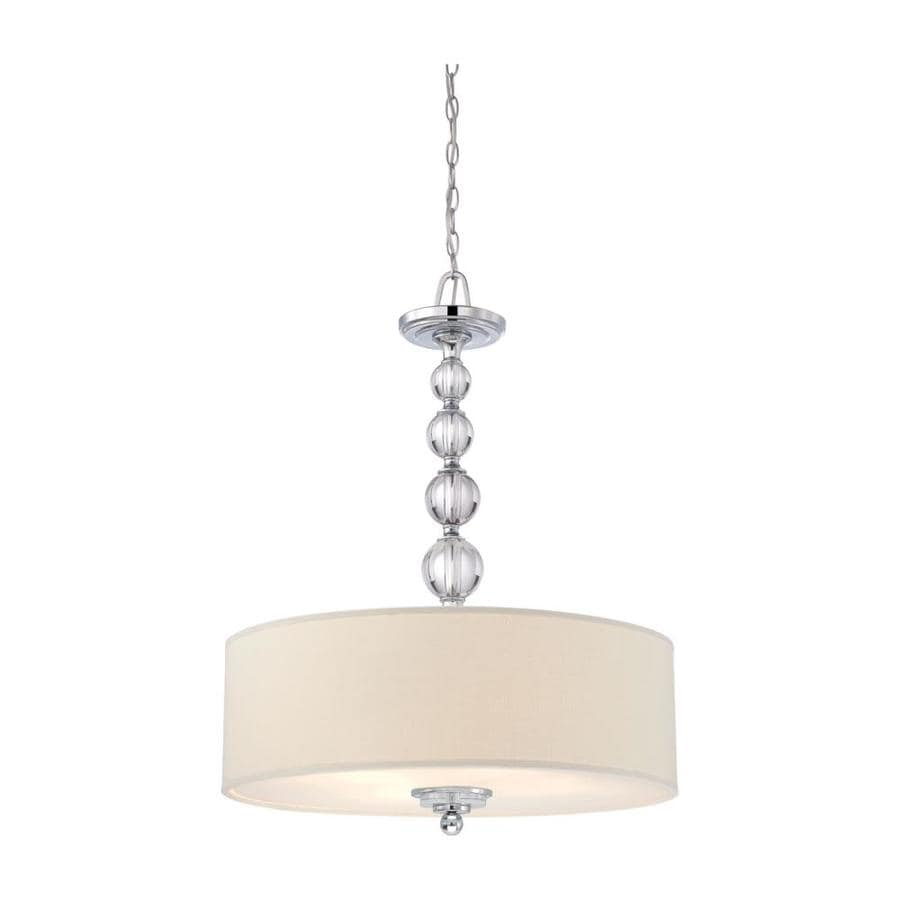 Quoizel Downtown 24-in Polished Chrome Country Cottage Single Etched Glass Drum Pendant