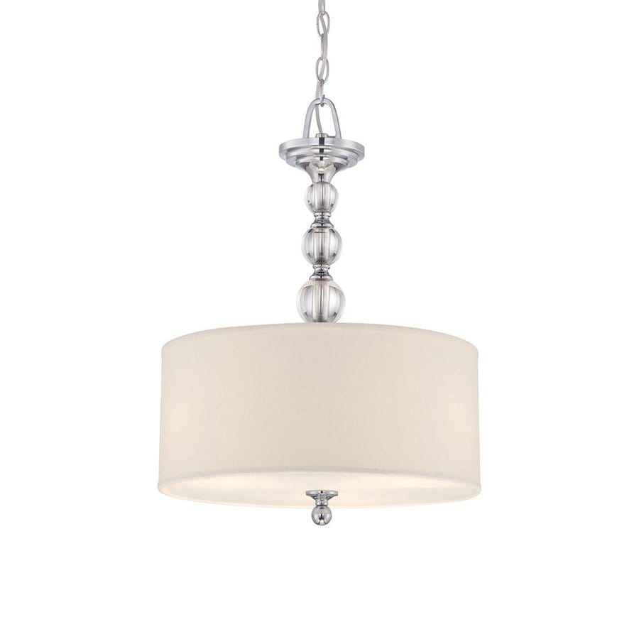 Quoizel Downtown 17-in Polished Chrome Country Cottage Single Drum Pendant