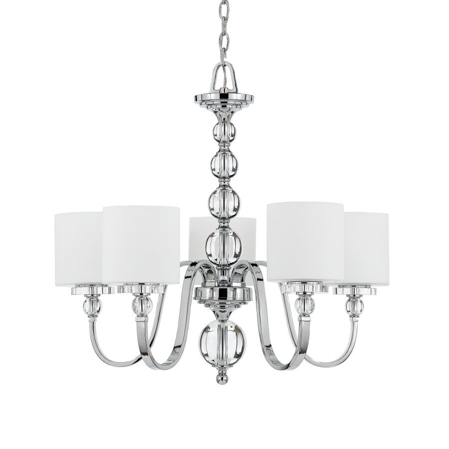 Quoizel Downtown 27-in 5-Light Polished Chrome Country Cottage Etched Glass Shaded Chandelier