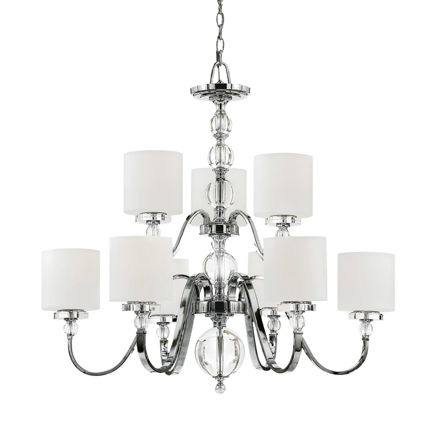 Quoizel Downtown 33-in 9-Light Polished Chrome Country Cottage Etched Glass Shaded Chandelier